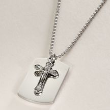 Crucifix Over Dogtag, Free Engraving